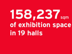 158,237 sqm of exhibition space in 19 halls
